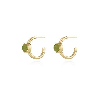 Joma Jewellery Capri Aventurine Hoop Gold Earrings 4493