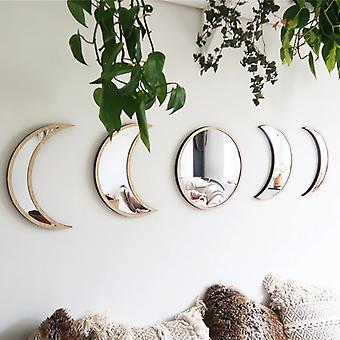 Nordic Style Wooden Decorative Moon Phase Mirror Wall Sticker