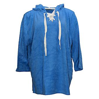 Anybody Women's Sweatshirt Baby Terry Lace Up Hoodie Blue A354748