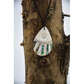 Shell Mosaic Teardrop Halsband med Abalone
