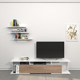 Móvel TV Port Bounty Color White, Sonoma in Melamine Chipboard, L170xP32xA36 cm, L72XP15xA60 cm