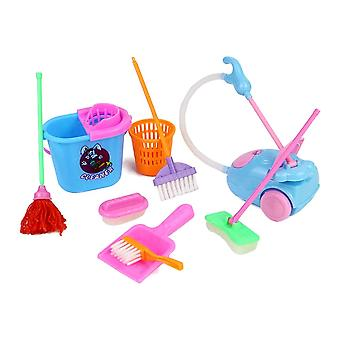 Kid Pretend Play Mini Housekeeping Tools, Kitchen, Home, Cleaning Broom Brush