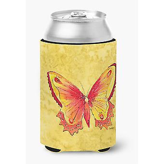 Schmetterling auf gelbe Dose oder Flasche Getränk Isolator Hugger