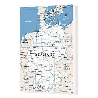 Kaart van Duitsland - Vector. Afdrukken van vakcanvas. Kaart van Duitsland - Vectorillustratie.