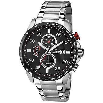 Accurist Mb1028r černé a stříbrné pánské hodinky z nerezové oceli