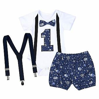 Newborn Baby Gentleman Clothing Set Short Sleeve Letter Romper