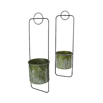 Set of 2 Stamped Leaf Design Framed Metal Hanging Planters