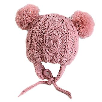 Winter Baby Hat With Ears Cartoon Lace-up Baby Bonnet Cap