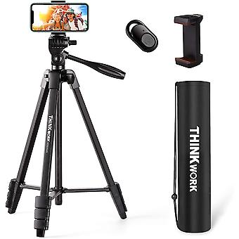 """DZK Lightweight Camera Tripod 55"""", Phone Tripod Stand with Bluetooth Remote Control, Mobile Phone"""