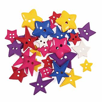 LAST FEW - 20g Novelty Bright Stars Buttons For Sewing and Haberdashery