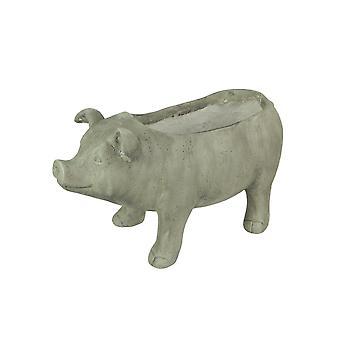 17 Zoll lange rustikale Finish lächelnd Schwein Pflanzer