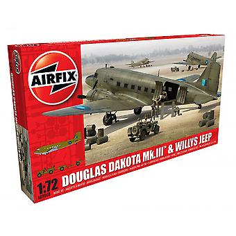 1: 72 de Airfix Douglas Dakota MkIII con Jeep Willys