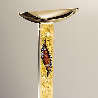 Integrated LED Designer Glass Floor Light Polished Gold - Kiss Gold Pattern