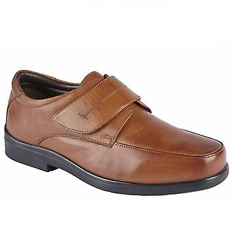 Roamers Robbin Mens Leather Touch Fasten Shoes Brown