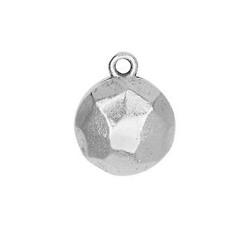 سحر معدني، شقة الظهر الأوجه دائرة 13mm، الفضة العتيقة، 1 قطعة، من تصميم نون