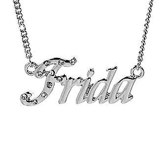 """L Frida - 18-karat hvidguldbelagt halskæde, med navn, der kan tilpasses, justerbar kæde på 16""""- 19"""", i refemballage. 496330314797"""