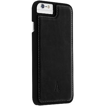 Akashi leather hard case for Apple iPhone 6/6S/7/8/SE 2020, rear cover – black