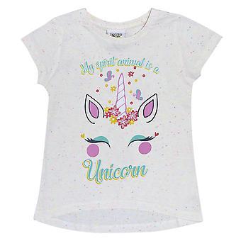 Popgear Girls Unicorn Flower Drop Hem T-Shirt