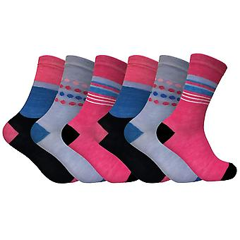 6 Pk Damen Neuheit gemusterte Kleid Socken