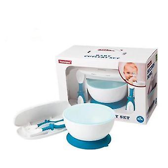 Blue portable bébé manger bol d'entraînement avec vaisselle, ventouse ne tombera pas az9917