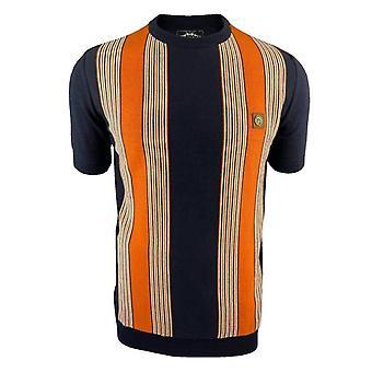 Trojan Stripe Front Fine Gauge TR/8612 T-Shirt - Navy