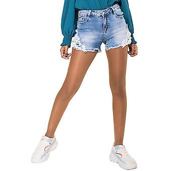 Женские джинсы шорты высокой талией джинсовые шорты с кружева стрейч тощие брюки