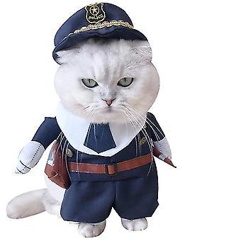 S politi kat kæledyr tøj politi sygeplejerske ko-dreng sjove opretstående kostume dt5392