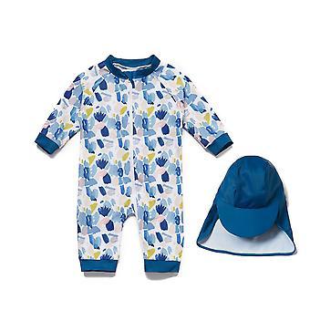 Baby Boys Maillot de bain une pièce UPF 50+ Protection solaire 3/4 Manches Full-zip Sunsuit