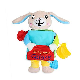 Discover Colors Rabbit Educational Fabric Book With Sound Paper Teether Soft Cloth Book