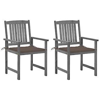 vidaXL-regissörens stolar med kuddar 2 st. grå massiv träakacia