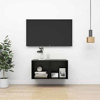 """vidaXL טלוויזיה קיר ארון שחור 37x37x72 ס""""מ שבב"""
