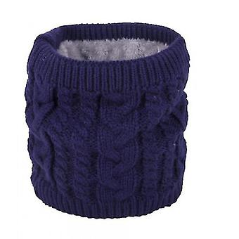Warm Scarf In Winter, All-match Knitted Scarf For Couples, Pure Color Plus Velvet Scarf(Blue)