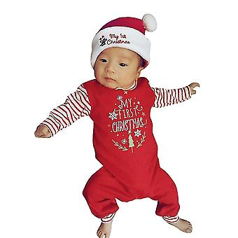Newborn Baby Letter Rompers Jumpsuit Outfit -striped Long Sleeve