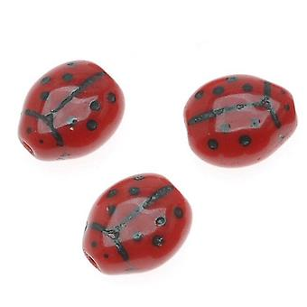 التشيكية الخرز الزجاج مبهمة الأحمر والأسود سيدة علة 7x8mm (12)