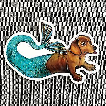 Mermaid Dachshund Vinyl Sticker