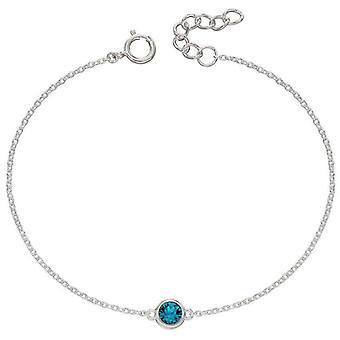 Début Décembre Bracelet Pierre de Naissance - Argent/Bleu Zircon
