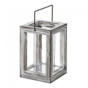 Galleri af lys rustikt træ naturligt stearinlys lanterne - 9 inches, Pakke med 1