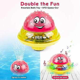 Bath toys infant bath toy 2 in 1 electric induction water spray toy space ufo car toys creative rotating toy