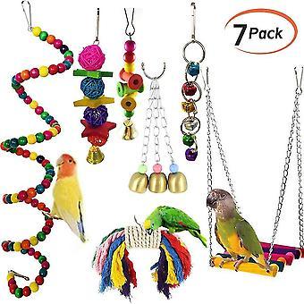 Bird toys pet bird swing toys chewing bite rattan balls parrot hanging toy multicolored lovebird toys
