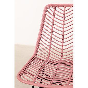 SKLUM Gouda Colors Eetkamerstoel van kunststof rotan Rotan polyethyleen - Staal Roze – pioen