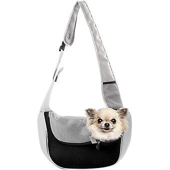 Sac messager de poitrine portable pour chats et chiens de compagnie (noir et gris S)
