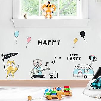 Fox Bear Musica Compleanno Patry Tema Parete Adesivi Home Decor Decalcomanie