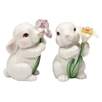 White Bunny Rabbits Couple and Flowers Salt and Pepper Shakers