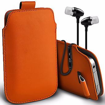 i-Tronixs Premium Stylish Faux Leather Pull Tab Pouch Skin Case Cover with Aluminium Stereo Hands Free Earphone For Samsung Galaxy On5 (5