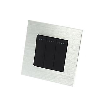 Que lujo de LumoS aluminio cepillado plata marco 3 cuadrilla 2 forma Rocker pared interruptores de luz