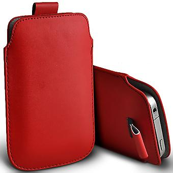 Samsung Galaxy J5 Slip In Pull Tab Faux Leather Pouch Case Cover (Red)