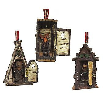 Kurt Adler Hinged Rustic Woodland Cottage Outhouses Ornaments Set of 3