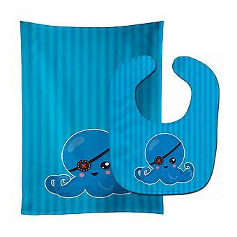 Carolines Treasures  BB8919STBU Dinosaur Blue Baby Bib & Burp Cloth