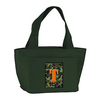 Letter T Monogram - Camo Green Zippered Insulated School Washable and Stylish Lu