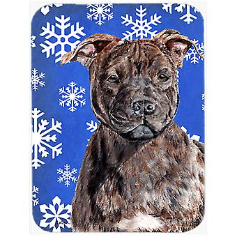 Staffordshire Bull Terrier Staffie Winter Snowflakes Glass Cutting Board Large S